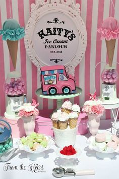Vintage Ice Cream Party Vintage Ice Cream Birthday Party featured on Pretty My Party First Birthday Parties, Birthday Party Themes, First Birthdays, Birthday Ideas, Third Birthday, Baby Birthday, Ice Cream Theme, Ice Cream Parlor, Sundae Bar