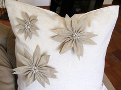 Christmas pillow decorative pillow cover with appliqued poinsettias rustic chic. $28.00, via Etsy.