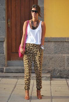 Casual top leapard pants nude sable shoe