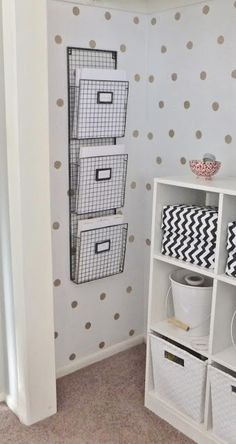 Paint gold dots in closet.  Love the hanging files. Could use as mail sorter for the family.