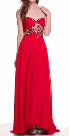 Strapless Red Sequins Ruched Bodice Evening Gown  #prom #discountdress #eveninggown