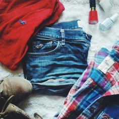 Hollister Denim shorts Hollister denim shorts that go great with the hollister plaid button down and red long sleeve red shirt also by hollister *True to size, a little tight on the thighs for me *May be a little short for someone of my height, 5 feet 6 inches *Worn a few times but no tears *VERY GOOD CONDITION Hollister Shorts Jean Shorts