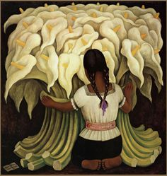 Diego Rivera Girl with Lilies Painting   Best Girl with Lilies Paintings For Sale