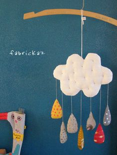 handmade fabric mobile on hanger Mobiles, Crafts To Make, Fun Crafts, Crafts For Kids, Sewing Projects For Kids, Craft Projects, Butterfly Nursery, Ideias Diy, Baby Decor