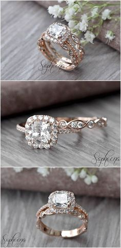 Custom Wedding Ring Set of Brilliant Cushion Cut Engagement Ring with Art Deco band in Rose Gold, Stacking, Bridal Set, Wedding Ring Band Set by Sapheena Gold Wedding Rings, Bridal Rings, Wedding Ring Bands, Wedding Jewelry, Stacked Wedding Rings, Bridal Ring Sets, Vintage Bridal Sets, Cushion Wedding Bands, Wedding Ring Styles