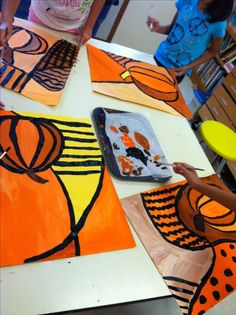 Perfect art project for during Thanksgiving break- like the patterns & shades