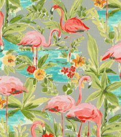 P/K Lifestyles Outdoor Fabric-Flamingoing Platnium