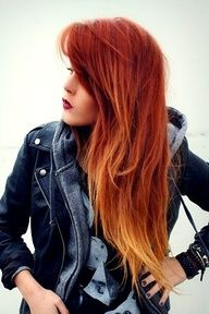 ombre red hair.  HA I like just did this my hair friday. well my wonderful hair dresser did.. its not as dramatic but I LOVE IT