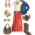 Love Coral with turquoise, denim and boots, of course!