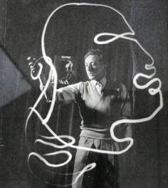 Jean Cocteau - Light painting, In his late years, Cocteau was also famous just for being Cocteau: He had rightfully gained a reputation as one of the most versatile and influential creative minds of his era. In he was inducted into the Academie Française. Picasso Light Painting, Artist Art, Artist At Work, Milly La Foret, Illustrator, Jean Cocteau, Plastic Art, French Artists, Pablo Picasso
