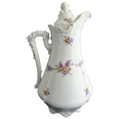 Antique demitasse chocolate pot c. 1890s Hermann Ohme porcelain