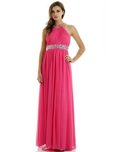 PY7032 Full Length A-Line Prom Dress has Halter Neckline with Beaded Collar featuring Gathered Top with Cutout Back and Zipper CLosure, Jewel Embellished Waistline, Long Solid Color Flowing Gathered Skirt.