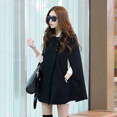 Black Coat Cape Jacket