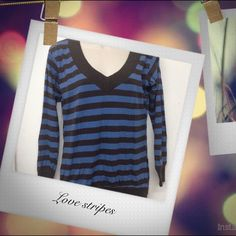 Blue and dark brown stripes T-shirt Full sleeves T-shirt in excellent condition .         10 % discounts on bundles  Fast shipper free gift with every purchase         Top 10% seller  No Paypal /trade Atmosphere Tops Tees - Short Sleeve