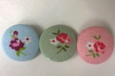 6 Floral Flowers Roses Fabric Covered Metal Buttons in Blue, Pink and Green 22mm by littlemayflower on Etsy