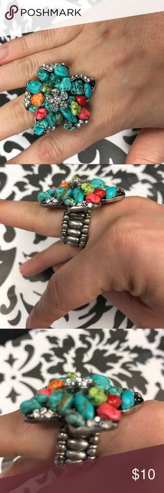 Turquoise Crystal Streatche Ring Lovely statement ting with turquoise and crystals. One size fits most. Jewelry