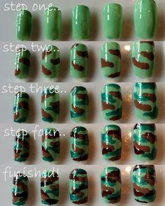 camo nail art | DIY Camouflage Nail Art