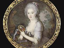 Miniature portrait of Princess Frederikke of Denmark - Marie of Hesse-Kassel holding a portrait of her fiancee by Cornelius Hoyer