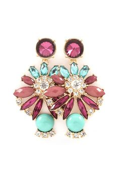 Danica Chandelier Earrings in Mint on Aubergine
