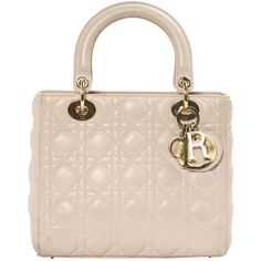 Pre-owned Dior Lady Dior Leather Handbag ($2,335) ❤ liked on Polyvore featuring bags, handbags, pink, women bags handbags, embossed leather purse, christian dior purses, christian dior handbags, leather purses and handbag purse