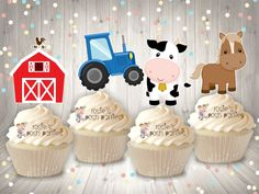 Farm Theme Birthday Party Cupcake Toppers Farm Baby Shower Cake Decoration Toppers on Lollipop Horse Cowboy Pig Tractor Party SET OF 12 from Rosie's Posh Parties Farm Cupcake Toppers, Baby Shower Cupcake Toppers, Cupcake Party, Baby Shower Favors, Baby Shower Themes, Farm Animal Cupcakes, Cupcake Bakery, Shower Ideas, Barnyard Party