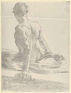 Study of a Young Man, Seen from the Back, 1895,  John Singer Sargent (American, Florence 1856–1925 London),  Lithographic crayon on transfer paper