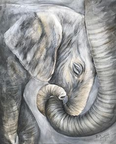 Awww, Dana Rae, you could do this! Elephant Artwork, Elephant Canvas, Elephant Love, Elephant Watercolor, Animal Paintings, Animal Drawings, Paintings Of Elephants, Indian Paintings, Abstract Paintings