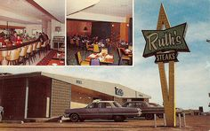 "Ruth's Steak House Amarillo, TX    My Aunt Ruth's (in top left photo) & Uncle Vernon's Steak House on 5601 Amarillo Blvd. East (Route 66) in the 60's. The building is now Thai House. The Blvd. was very cool before I-40 was built! Text on card: ""RUTH'S STEAK HOUSE Coffee Shop, VIP Lounge, Pump Room. West Texas, most popular steak house ince 1951. The colorful PUMP ROOM available for private parties. 5601 Amarillo Blvd. East HWY 60-66 East AMARILLO, TEXAS"""