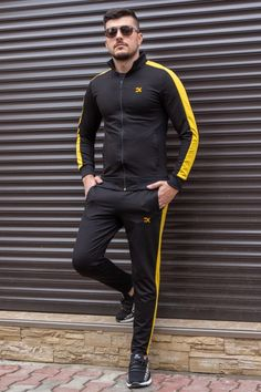Trening Bumbac EX Negru-Galben TRB9 Fashion Men, Athletic, Slim, Adidas, Jackets, Style, Lab Coats, Down Jackets, Swag