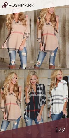 NEW‼️ sexy v-neck plaid on trend flowy top Sexy woman's plaid pink half sleeve top! Super on trend for the 2018 season! Lightweight, great year round look! Bundle and save! Check out my other boutique items on sale now! Tops Blouses