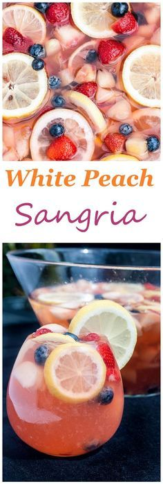 White peach sangria recipe with white wine, blueberries, strawberries and lemon