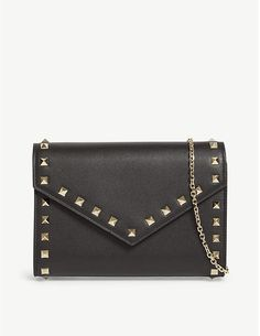 Valentino Rockstud wallet-on-chain Valentino Shoes, Valentino Rockstud, Leather Chain, Leather Wallet, Valentino Clothing, Selfridges & Co, Wallet Chain, Italian Fashion, Bags