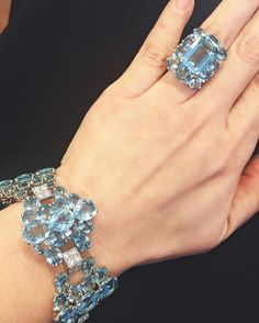 Aquamarine and diamond bracelet and ring, both by Cartier. Stunning and rare.