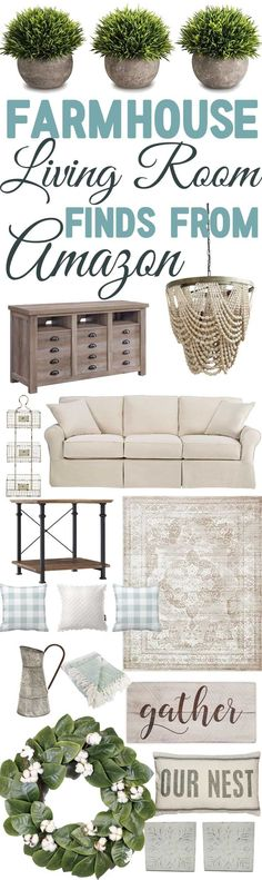 "Today I have gathered together a bunch of amazing farmhouse finds from Amazon to help you shop new ideas for your living room! I love creating these lists because I know how hard it can be to ""put together"" a room. These mood"