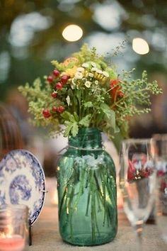 blue ball jar vase