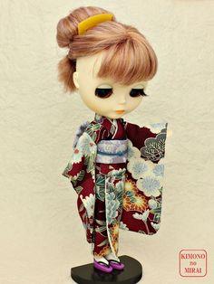 Best Japanese KIMONO dress,Bordeaux kimono,for dolls Licca,Blythe,DAL clothe #KIMONOnoMIRAI
