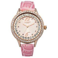 Lipsy - Ladies Pink Leather Strap Stone Set Bezel Watch - LP338 - Online Price: £40.00