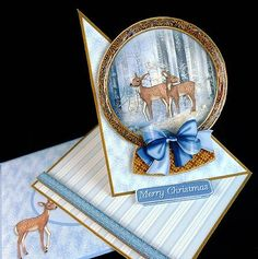 Card Gallery - Twisted Easel Winter Deer Snow Globe