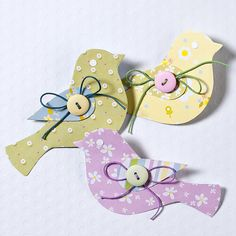 Paper Bird Embellishment {tutorial} cute for Easter cards