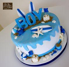 baby boy shower  cakes   Beach Boy Baby Shower {Baby Shower}   The Hudson Cakery