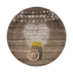 Rustic Wood Barrel Wedding with Sunflowers Paper Plate - home gifts ideas decor special unique custom individual customized individualized