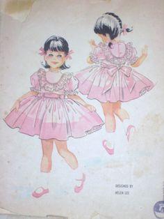 Vintage 1960's McCall's 5382 Beautiful Child's Girl's Dress & Slip Size 5 Uncut