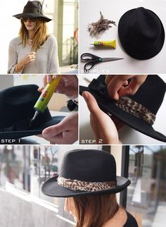 DIY feather trimmed fedora...Kileigh would love this, she has two that she is going to wear out...