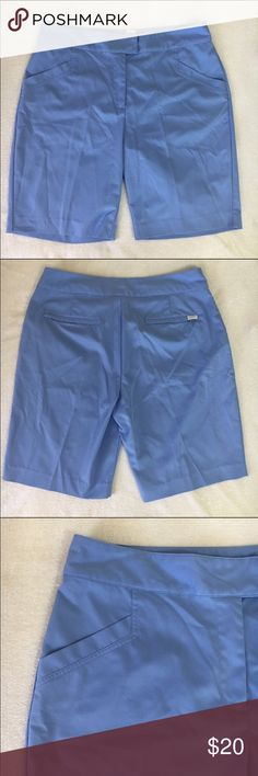 """Periwinkle color bermuda golf  shorts New with out tags. soft periwinkle color size 12. 100% Polyester. 4 working pockets, the two back pockets have zippers, waist 17 1/2"""" ---hips 22 1/2""""--- rise 11"""" --- Inseam 10""""--- leg opening 11"""". TEHAMA Shorts"""