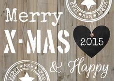 Een trendy kerstkaart met houtprint, zwart hartje en tekst. Te vinden op https://www.kaartje2go.nl/kerstkaarten
