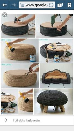 Diy furniture - Turn old tires into beautiful ottomans! The only limit is your imagination craftIdea org Tire Furniture, Diy Furniture Decor, Recycled Furniture, Diy Room Decor, Furniture Plans, Tyres Recycle, Upcycle, Tire Ottoman, Diy Storage Ottoman