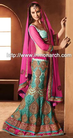 INMONARCH Womens Amazing Turquoise Green Net Lehenga by INMONARCH