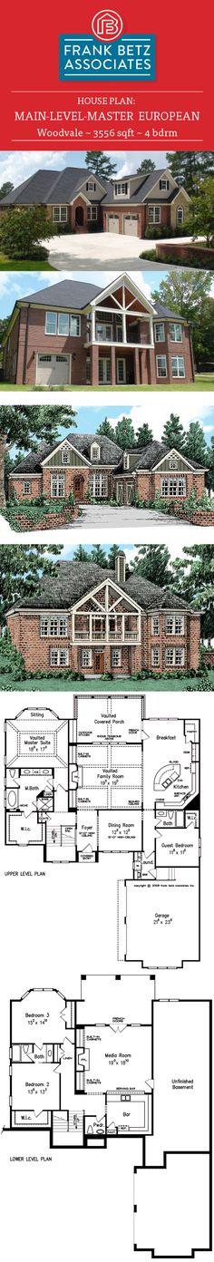 Woodvale: 3556 sqft, 4 bdrm, main-level-master, European house plan design by Frank Betz Associates Inc. European House Plans, Luxury House Plans, Home Design Plans, Plan Design, Frank Betz, Step Inside, House Floor Plans, Maine, Exterior