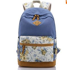FREE SHIPPING Canvas Match Nubuck Leather Satchel Rucksack Backpacks School Bags for Girls Mochila Escolar Printing Backpack School - TMACHE