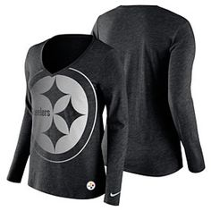 Get this Pittsburgh Steelers Ladies Logo Wrap Tri-Blend V-Neck Long Sleeve  T-Shirt at ThePittsburghFan.com f13613356